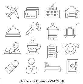 Hotel Line Icons on White Background
