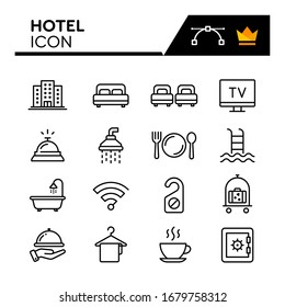 Hotel line icons set. Editable Stroke
