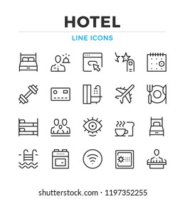 Hotel line icons set. Modern outline elements, graphic design concepts, simple symbols collection. Vector line icons