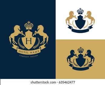 Hotel Logo, luxury brand identity, king royal icon, vector illustration
