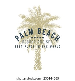 hotel logo template with hand drawn palm tree