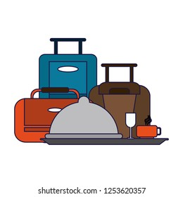 Hotel luggage and restaurant symbol
