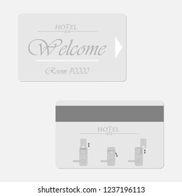 Hotel magnetic stripe key card - front and back. Motel keycard. Vector template.
