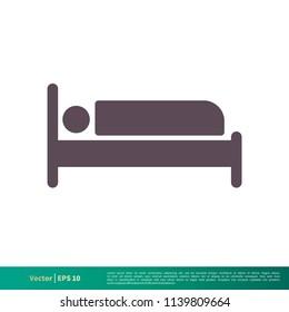 Hotel, Motel, Bed Icon Vector Logo Template