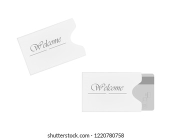 Hotel and motel magnetic stripe key card holder isolated on white background. Hospitality card sleeve. Paper envelope. Vector template.