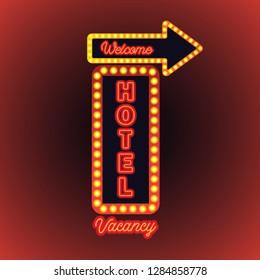 hotel motel neon sign plank. vector illustration
