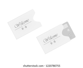Hotel and motel RFID key card holder isolated on white background. Hospitality card sleeve. Paper envelope. Vector template.