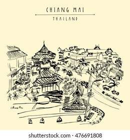 Hotel on Ratchamanka street in Chiang Mai, Thailand, Southeast Asia. Hand drawing. Vintage artwork. Travel sketch. Book illustration, touristic postcard or poster in vector