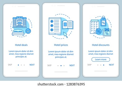 Hotel online booking onboarding mobile app page screen vector template. Hotel deals, prices, discounts. Walkthrough website steps with linear illustrations. UX, UI, GUI smartphone interface concept