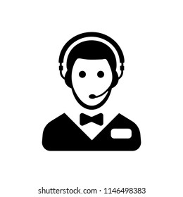 Hotel online support service vector icon black