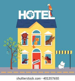Hotel for pets filled with dogs, cat, parrot and a pig, EPS 8 vector illustration, no transparencies