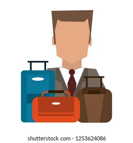Hotel recepcionist with luggage