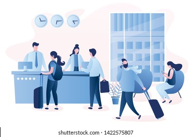 Hotel reception desk,interior with furniture,people receptionists and travellers with luggage,male and female characters in trendy style,vector illustration