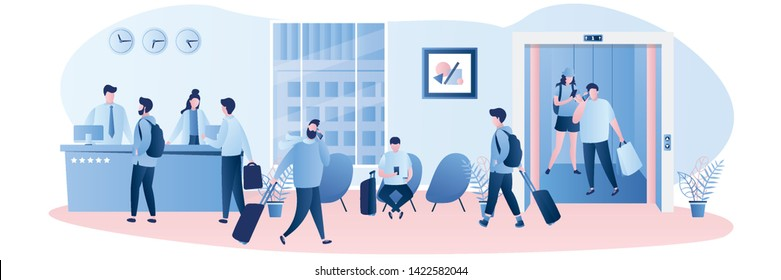Hotel reception desk,interior with furniture,people receptionists and travellers with luggage.People in elevator with open doors. Male and female characters in trendy style,vector illustration