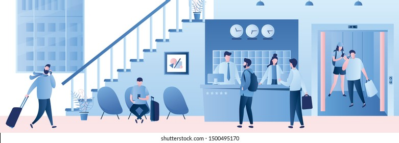 Hotel reception desk,interior with furniture,people receptionists and travellers with luggage. Staircase and window, people in elevator with open doors. Characters and elements in trendy style,vector