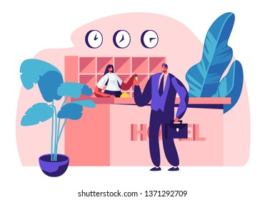 Hotel Reception. Female Manager, Receptionist Character Behind Desk Give Room Key to Businessman Guest at Hall. Lobby Interior, Tourism, Business Trip. Interior of Inn.Cartoon Flat Vector Illustration