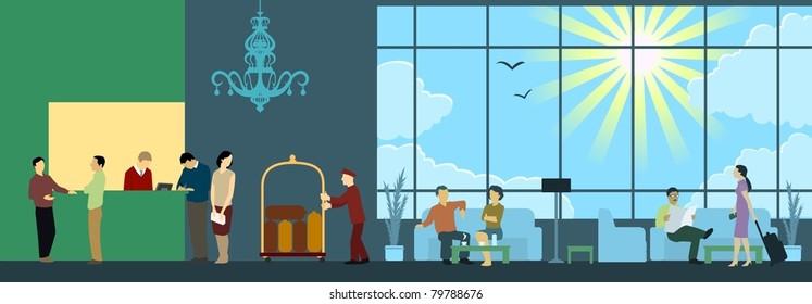 Hotel Reception Interior Scene