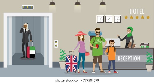 Hotel reception interior.Young arabic woman receptionist in hijab.Caucasian tourists stands at reception desk and arab man in elevator, hotel booking concept.Cartoon flat vector illustration