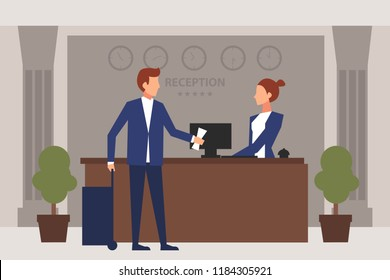 Hotel reception. Young man giving reservation papers to a woman receptionist that stands at reception desk. Travel hospitality hotel booking concept. Eps 10 Vector illustration Minimalist brown style