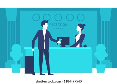Hotel reception. Young man giving reservation papers to a woman receptionist that stands at reception desk. Travel hospitality hotel booking concept. Eps 10 Vector illustration Minimalist white blue.