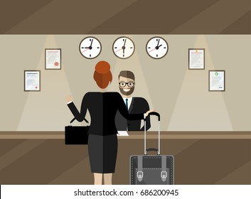 Hotel reception. Young man receptionist stands at reception desk, in the lobby are also visitors. Travel, hospitality, hotel booking concept. Vector illustration