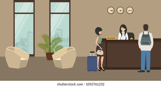 Hotel reception. Young woman receptionist stands at reception desk. There are also two armchairs on a window background in the picture. Travel, hospitality, hotel booking concept. Vector illustration