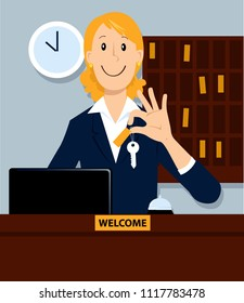 Hotel receptionist or a concierge holding a room key, EPS 8 vector illustration