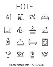 Hotel related vector icon set. Well-crafted sign in thin line style with editable stroke. Vector symbols isolated on a white background. Simple pictograms.