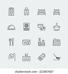 Hotel related vector icons set, thin line