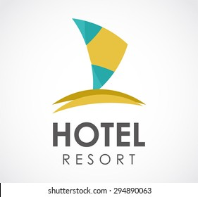 Hotel resort beach sail logo element design vector shape icon symbol business template company identity