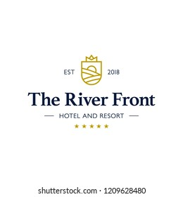 Hotel and Resort logo. The River hotel vector illustration. Logo for the resort in the mountains. Realty construction architecture symbol.