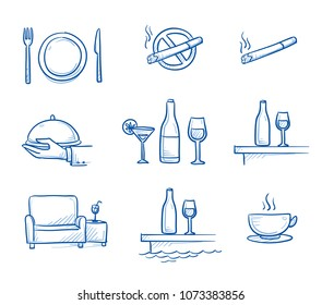 Hotel restaurant icon set, with dishes, non smoking sign, drinks, bar, lounge, room service and coffee. Hand drawn line art cartoon vector illustration.