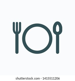 Hotel restaurant isolated icon, dinning plate, spoon and fork linear vector icon