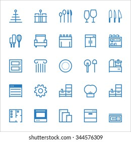 Hotel and restaurant. Line icons set.