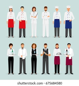 Hotel restaurant male and female team in uniform. Group of catering service characters standing together: chef, cook, waiters and barman. Welcoming banner. Vector illustration.