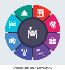 hotel and restaurant vector template for infographics. Business concept with 9 options, steps, parts, segments. Banner infographic cycling diagram, round chart, Nightstand, Napkins, Minibar icons