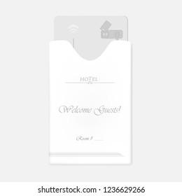Hotel RFID key card inside keycard sleeve holder. Vertical white envelope with top slot. Vector template.