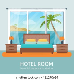 Hotel room with beach and sea landscape in window. Hotel apartment. Flat style vector illustration.