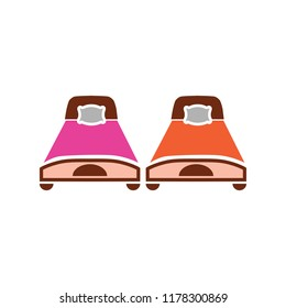 Hotel Room, bed illustration - vector king bed symbol. hotel icon