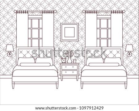 Hotel Room Bedroom Interior Vector Outline Stock Vector Royalty