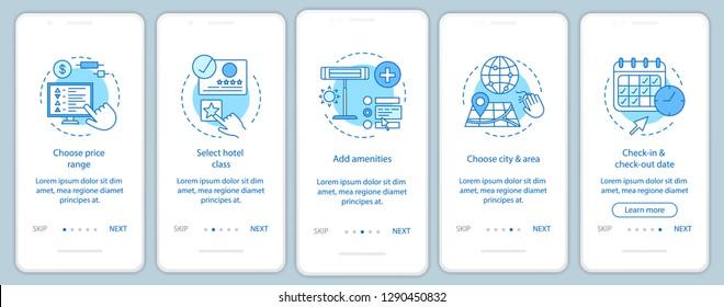 Hotel room booking onboarding mobile app page screen vector template. Choosing price, amenities, city, date. Hostel, motel reservation. Walkthrough website steps. UX, UI, GUI smartphone interface