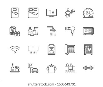 Hotel room facilities flat line icons set. Double bed, reception, room service, bathrobe, slippers, safe, minibar vector illustrations. Outline signs for motel. Pixel perfect. Editable Strokes.