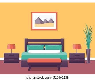 Bedroom House Design With Bed. Vector Illustration With Furniture.
