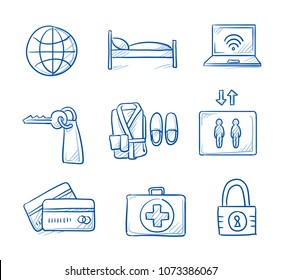 Hotel and room icon set with credit cards, lock, wifi, elevator, key, bed, bathrobe, calendar and first aid kit. Hand drawn line art cartoon vector illustration.