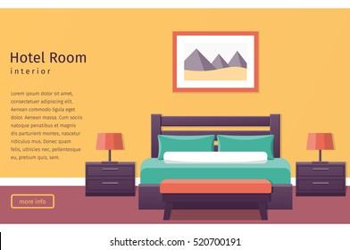 Hotel room interior in flat style. Bedroom design. Banner. Background. Vector illustration.