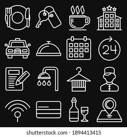 Hotel Room Service Related Icon Set. Line Style Vector illustration