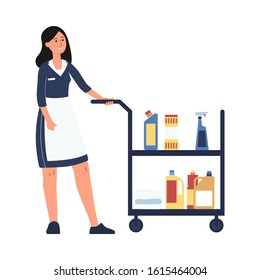 Hotel room service worker - cartoon cleaner woman in maid uniform pushing trolley cart with cleaning supplies. Female housekeeper - isolated flat vector illustration