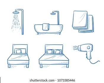 Hotel room type icon set, for singe or double room, with bed, shower or bath tub, towls and hair dryer. Hand drawn line art cartoon vector illustration.