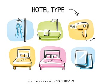 Hotel room type icon set, for singe or double room, with bed, shower or bath tub, towls and hair dryer. Hand drawn cartoon sketch vector illustration, marker style coloring on tiles.