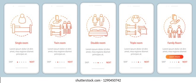 Hotel room types onboarding mobile app screen vector template. Booking accommodation, apartment. Single, twin, family rooms walkthrough website steps. Hostel, motel. UX, UI, GUI smartphone interface